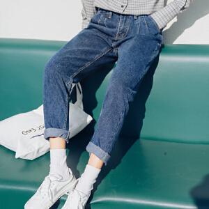 哆哆何伊春夏新款韩版高腰宽松牛仔裤女百搭显瘦九分哈伦裤子