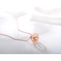 18K玫瑰金罗马数字项链女 钛钢 日韩版百搭经典首饰品 学生 玫瑰金