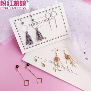 耳环套装长款耳坠女气质韩国简约个性百搭一款两戴超仙ins耳饰