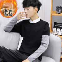 韩版假两件衬衫领针织衫保暖潮流线衣2018冬季新款毛衣男加绒