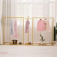 欧式金色铁艺服装店架女装衣架展示架落地简约侧挂正挂架 官方标配