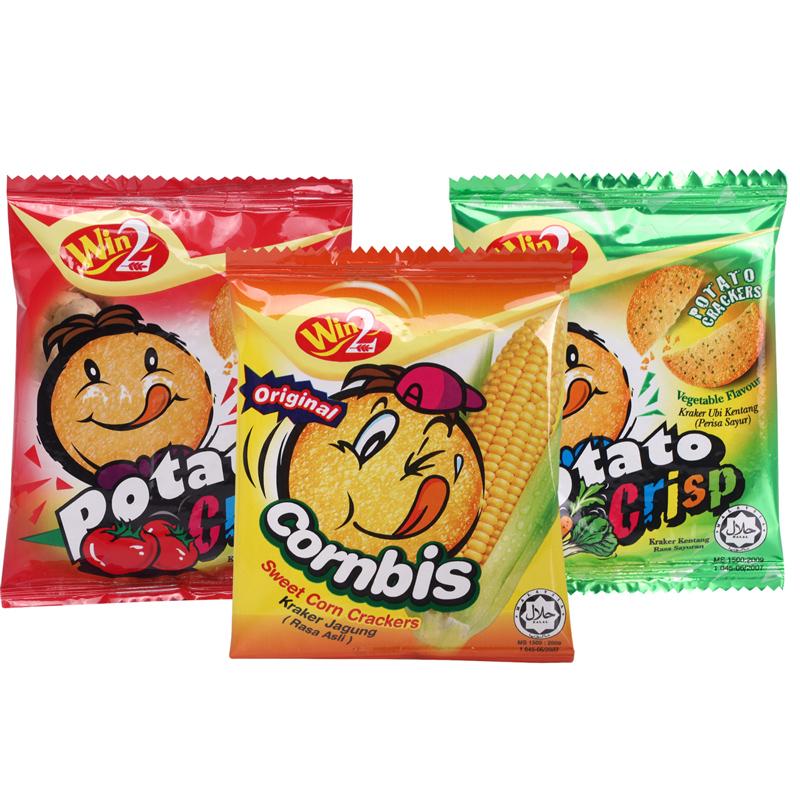 马来西亚WIN2 进口食品赢赢番茄蔬菜玉米味薄饼干儿童休闲零食3袋