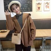 学院风复古冬装chic女装连帽修身外套短外套纯色学生宽松呢子大衣
