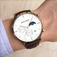 手表男学生男士运动石英表时尚潮流夜光真皮带男表腕表