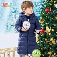 贝贝怡男女宝宝长款羽绒服冬装新款儿童连帽防风保暖洋气外套194S2131