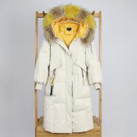 羽绒服女中长款韩版冬季过膝大彩色真貉子毛领加厚时尚连帽外套潮