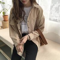 2018春季女装新款韩版原宿风bf百搭灯芯绒长袖衬衣开衫外套女学生