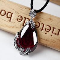 925泰银吊坠复古镶嵌石榴石项链吊坠女款红宝石毛衣链银饰hb 酒红色