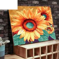 数字油画diy客厅花卉手工自己填色油彩手绘装饰画 70*90加厚�瓤� 第三代彩色画板+双份颜料画笔+