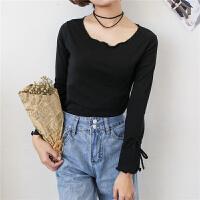 喇叭袖t恤女简约系带纯黑色波浪木耳边秋衣外穿韩版低圆领打底衫