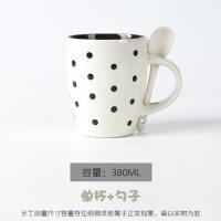 简约马克杯个性咖啡杯牛奶杯陶瓷杯子带盖勺情侣水杯