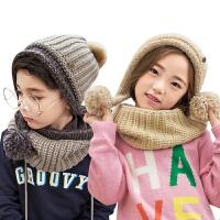 kk树秋冬款儿童帽子围巾一体小孩围脖保暖男女童宝宝帽子围巾套装