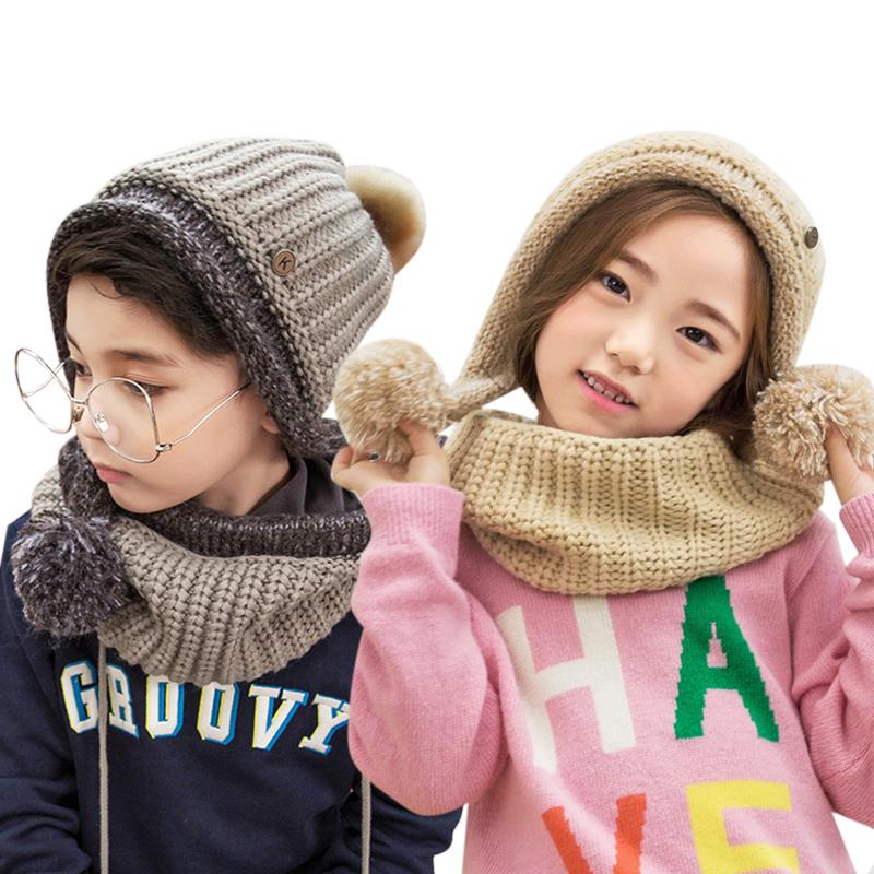 kk树秋冬款儿童帽子围巾一体小孩围脖保暖男女童宝宝帽子围巾套装亲肤面料 绒球帽顶