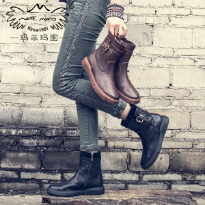 玛菲玛图英伦短靴女冬季2019新款短筒圆头中跟平底皮带扣侧拉链牛皮马丁靴5309-5