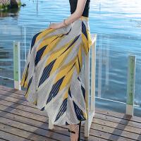 半身裙女士夏季新款女装条纹雪纺波西米亚海边度假沙滩裙 图片色 AQA631
