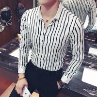 秋季男士长袖衬衫男韩版修身个性条纹夜店发型师潮流衬衣工作服男