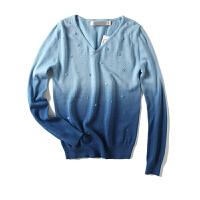 女装春季新 韩版渐变色钉珠长袖针织衫女毛衣外穿上衣