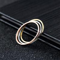镀18k玫瑰金细光面戒指情侣对戒男女钛钢指环P6情人节礼物
