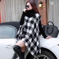 毛呢外套大衣女士秋冬装针织拼接格子斗篷披肩新蝙蝠衫披风大码女装 均码