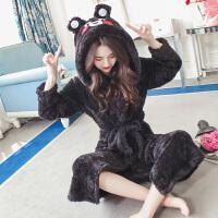 秋冬珊瑚绒睡衣女冬季韩版卡通学生甜美可爱睡袍法兰绒睡裙家居服 熊比熊绒袍