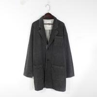 O01065秋季新款韩版五角星扣宽松显瘦好搭配女纯色中长外套