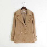 M07051秋冬新款韩版西装领双排纽扣显瘦好搭配女纯色毛呢外套
