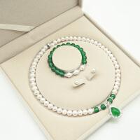 淡水珍珠项链绿玛瑙吊坠颈饰天然近圆饱满套装送妈妈婆婆礼物 8-9mm 48cm