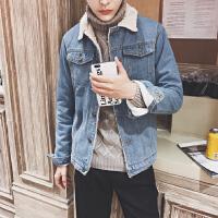 新款潮帅中性小码矮个子羊羔毛牛仔外套韩版修身S码男夹克