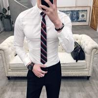 新品18春秋新男士潮流韩版修身纯色上班长袖衬衫青年免烫简约衬衣