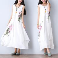 夏季文艺复古民族风女装裙子复古印花背心长裙打底棉麻连衣裙