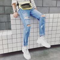 2018春夏季新款韩版破洞牛仔裤男士港风潮流九分修身小脚裤子男装