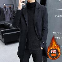 风衣男中长款韩版潮流2018新款羊毛呢子大衣冬季加厚妮子外套男装 夹棉加厚
