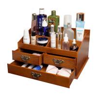 桌面木质化妆品收纳盒木制复古家用梳妆台护肤品置物架惊喜的文具礼物节日礼品圣诞礼物