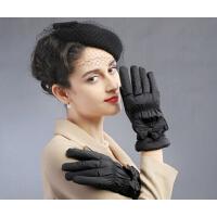女冬加厚手套蝴蝶结骑车保暖 冬季女士手套