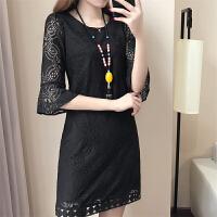 胖mm蕾丝连衣裙2018新款女装春装大码中长款韩版时尚百搭显瘦夏潮 S (98斤内)