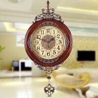 欧式挂钟客厅实木摆钟创意艺术壁挂钟表田园静音复古装饰时钟