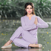 2018秋季新款民族风女装棉麻瑜伽服两件套装休闲打坐禅修服长袖女