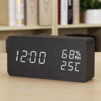 温湿度计学生床头钟木 座台钟时尚LED创意电子钟表 夜光静音闹钟