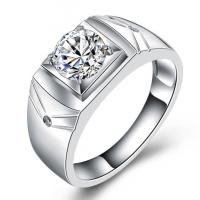 925男士戒指仿真钻戒锆石开活口婚戒镀金韩版情侣对戒指 MJZ001 活口可调节