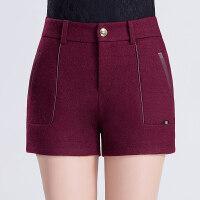 毛呢短裤女秋冬修身显瘦休闲打底外穿厚款呢子靴裤大码