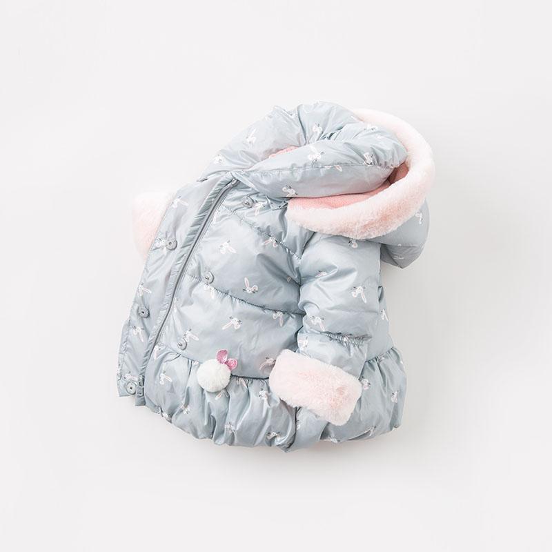 夹棉戴维贝拉冬季新款女童宝宝棉衣棉服DBM8186 帽子可脱卸 毛条不可脱卸 抓绒内里御寒保暖