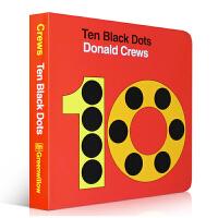 英文原版 Ten Black Dots 纸板书 名家Donald Crews 吴敏兰 张湘君推荐绘本123 第47本