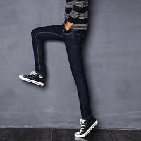 新款2018男士裤子夏季春夏潮男男装小脚水洗纯蓝色牛仔裤时尚潮流