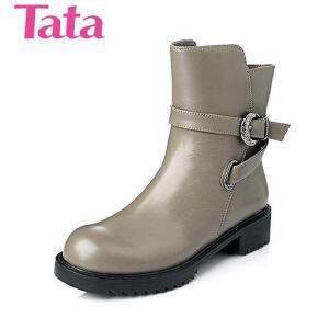 Tata/他她 年时尚休闲舒适牛皮革女靴2D312DD5