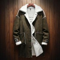 加绒加厚风衣男中长款2018冬季新款日系帅气保暖羊羔绒外套潮