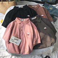 港风夏季新款简约刺绣POLO衫男士韩版青少年色宽松短袖T恤