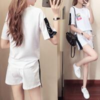 休闲套装女夏季新款2018韩版时尚运动宽松短裤俏皮两件套装潮