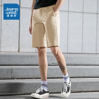 真维斯男装 夏装新款 弹力斜纹布直筒及膝短裤