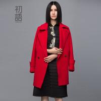 【1件7折/2件5折】初语冬季新款 长袖毛呢外套女中长款大衣女8431224020