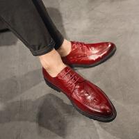 春秋男士潮流尖头系带鳄鱼纹低帮鞋韩版英伦青年 休闲皮鞋子